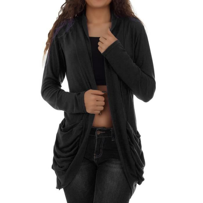 Poche Casaque Paontry6819 Solide Ouvert Manches Longues Cardigan Womens Sexy Avant Casual F6dqw88BY
