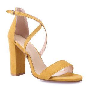 SANDALE - NU-PIEDS Sandales jaunes à talon carré et brides croisées