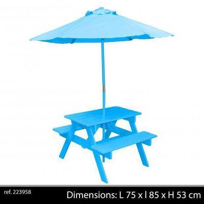 Table Jardin Enfant Avec Parasol + Banc Intégrés Couleur Bleu ...