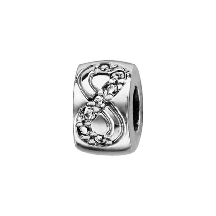 Stopper Argent 925 pour Bracelet Charms Rondelle Infini Zirconium Caoutchouc Intérieur