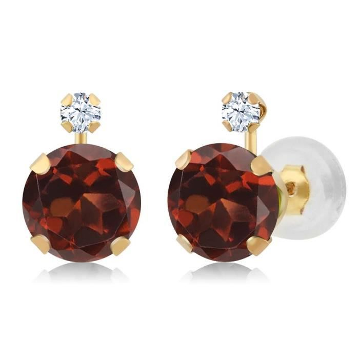 Womens 2.08 Ct Round Red Garnet White Created Sapphire 14k Yellow Gold Earrings J4GSC