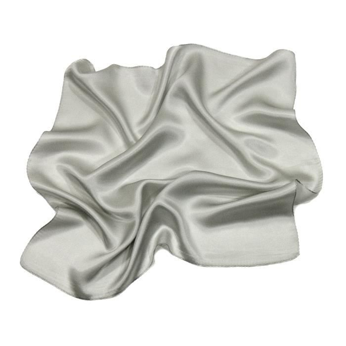 2b49e3de240 Foulard en soie gris perle carré mini 50 x 50 cm premium Unique Gris ...