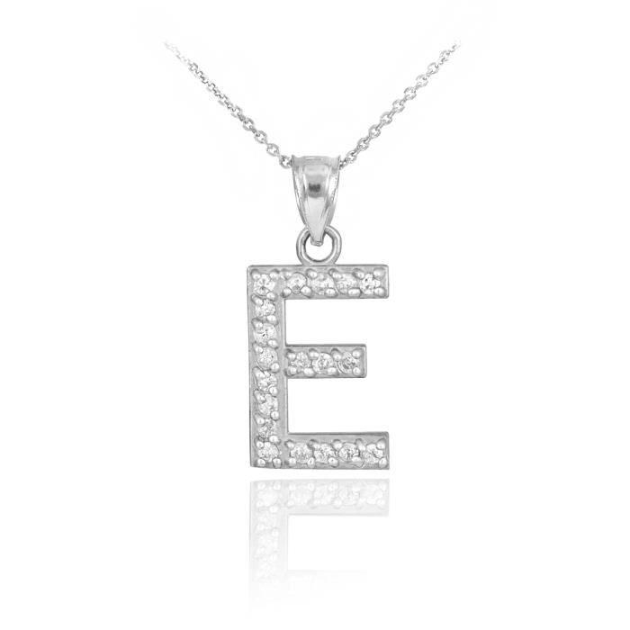 Pendentif 10 ct Or Blanc 471/1000 première lettre dependentif initiale E Diamants