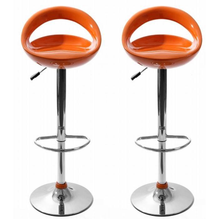 tabouret de bar tabourets de bar snack orange lot de 2 - Tabouret Bar Orange