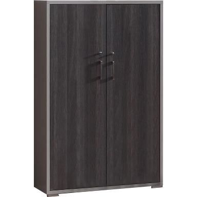 meuble de rangement bureau gris et ch ne anthracite avec 2. Black Bedroom Furniture Sets. Home Design Ideas