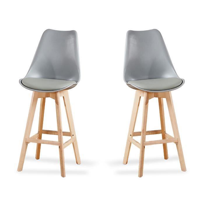 Lot de 2 chaises hautes grises - Gotteborg - Achat   Vente tabouret ... 19817c74cf1a