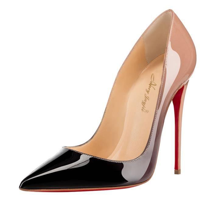 Chaussures femmes 100% cuir, escarpins rose et noir Nancy Jayjii.