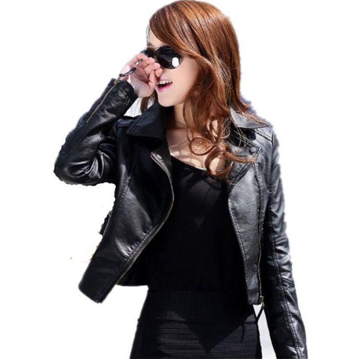 Veste cuir noir courte