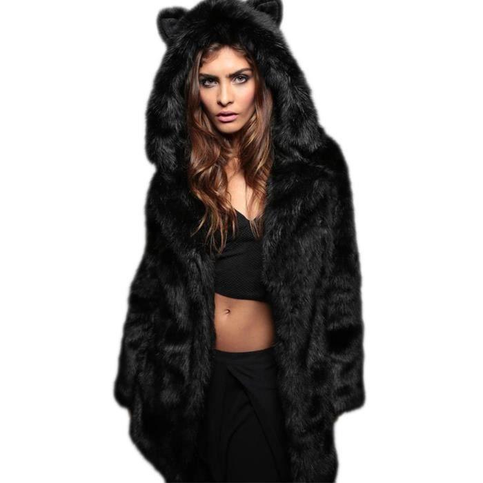 708c3552ddd7e Manteau femme Finejo Long fausse fourrure à capuchon chic Noir Noir ...