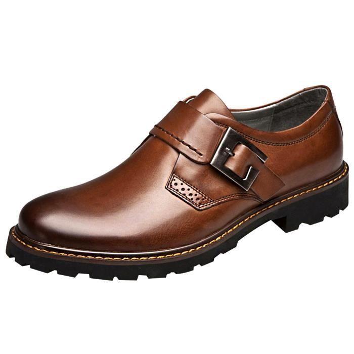 Jamron Hommes Cuir Véritable Épais Semelle Antidérapante Bracelet Monk Derby Cuir Chaussures