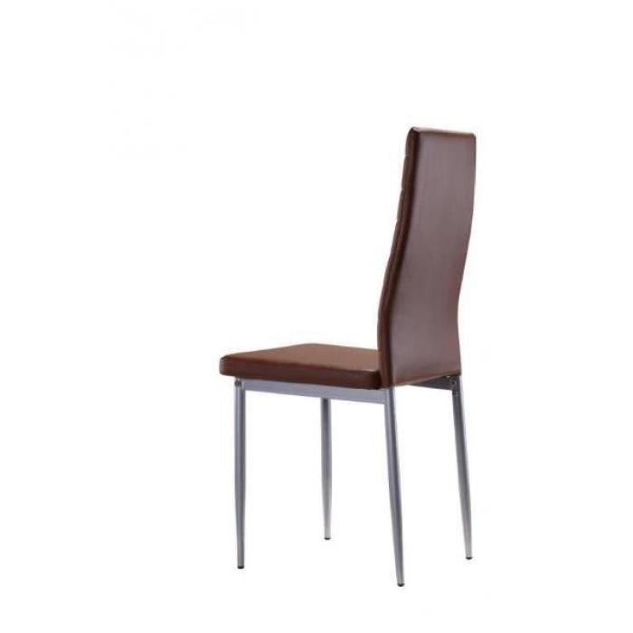lot de 4 chaises chocolat ultra confort achat vente chaise acier cuir synth tique soldes. Black Bedroom Furniture Sets. Home Design Ideas