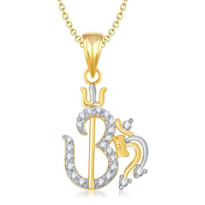 Womens Om God Pendant With Chain For ,gold Plated In American Diamond Cz Jewellery Gp0133 SXEY2