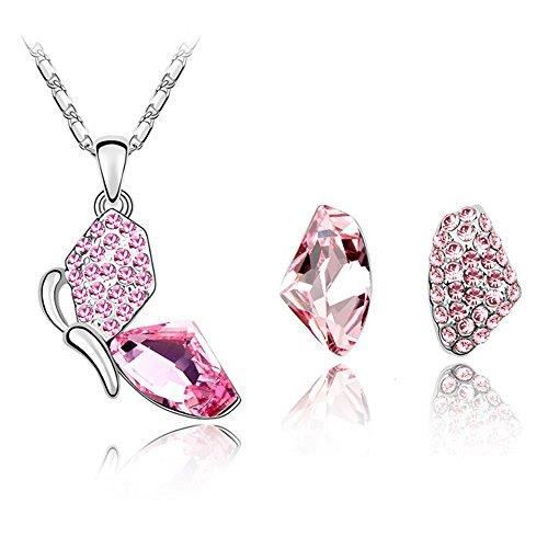 Cristal-Parure Bijoux Collier Et Boucles DOreilles Pour Femme-Papillon-Plaqué Or Blanc-Cristal Autrichien Rose Clair-Bijoux Fant...