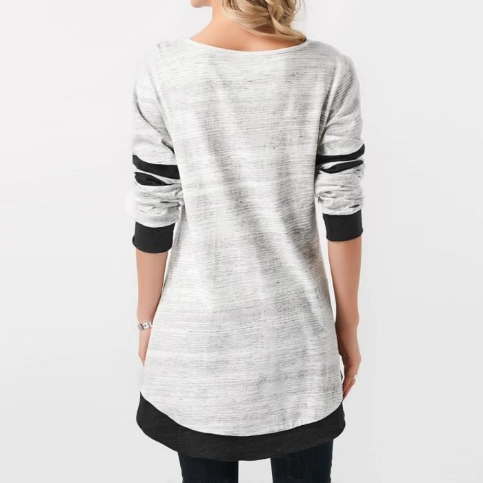 Rayures Mode shirt Manches Imprimé À Ourlet Longues T blanc Marioyuzhang Arrondi Femmes Libaib Patchwork Chemisier qnpwz1gH