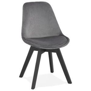 CHAISE Chaise en velours gris 'JOE' avec structure en boi