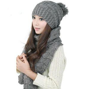 ECHARPE - FOULARD Femmes Bonnets Baggy Écharpe Crochet Laine Tricoté 3de5c01419b