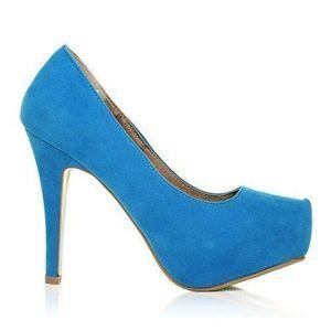 ESCARPIN H251 Turquoise Faux Suede Stiletto haut talon cach