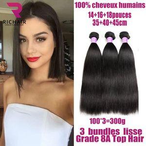 PERRUQUE - POSTICHE 3meches bresilien lisse cheveux naturels humain vi