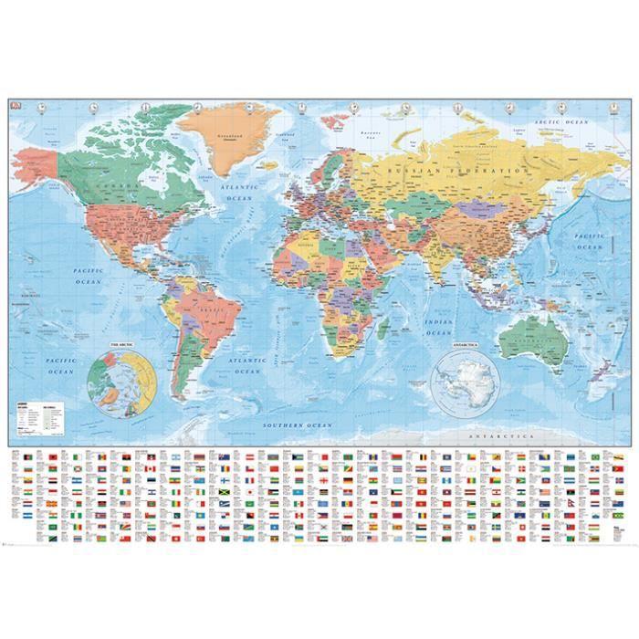 Affiche Géante Carte Du Monde Avec Les Drapeaux Et Les Noms Texte En Anglais Dimensions 100 X 140 Cm