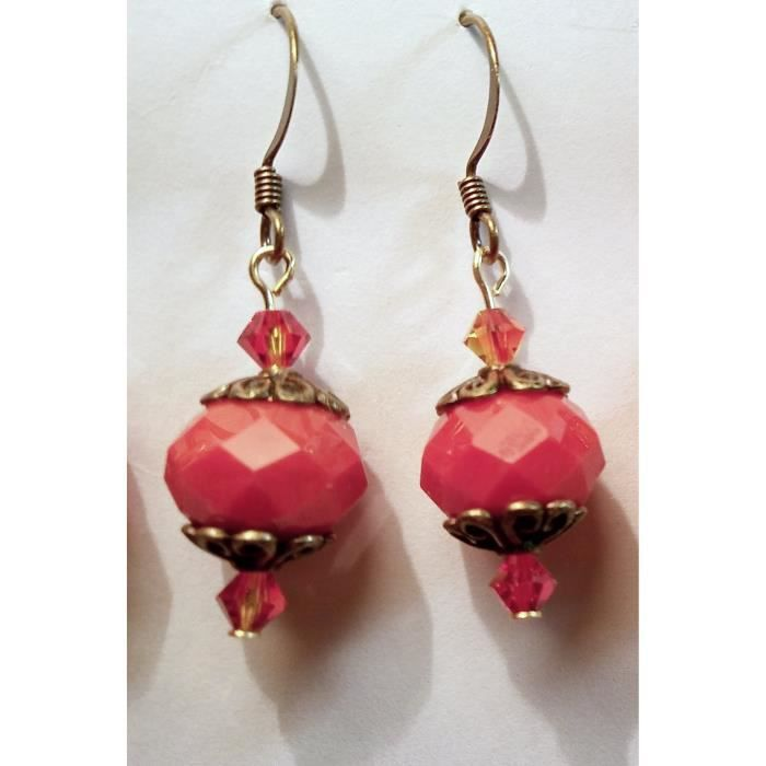 Womens Red Orange Faceted Glass And Fire Opal Crystal Earrings Q7DFP