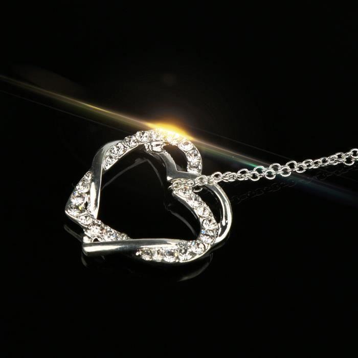 Estimetown®mode Collier Nouvelles femmes Pendentif coeur double Collier Bijoux chaîne Argenté@YNZ09200431