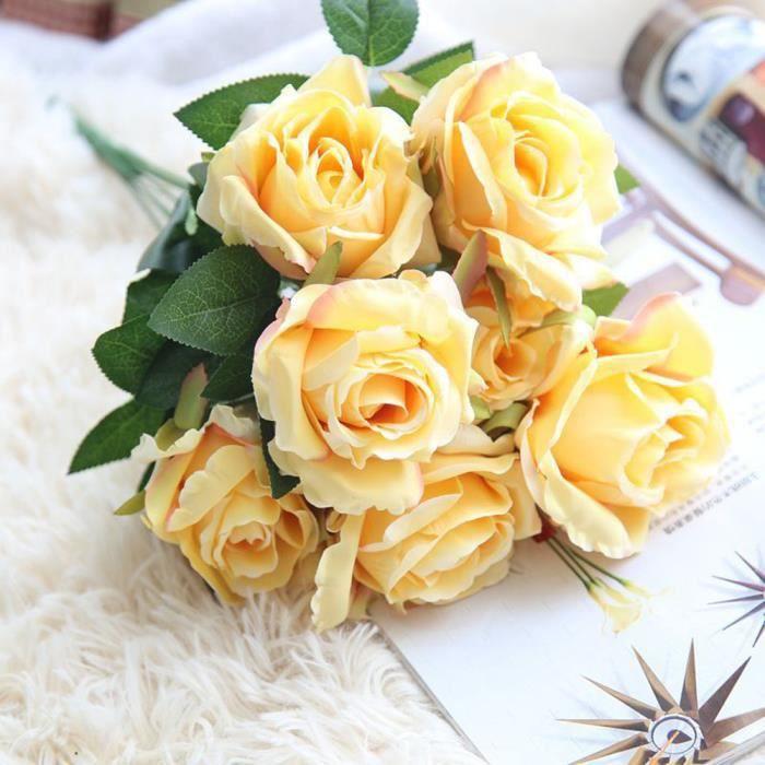 Soie Artificielle Faux Roses Fleurs Bouquet De Mariee De Soiree De