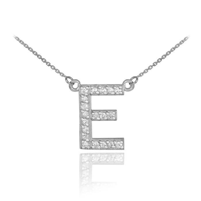 Pendentif 14 ct Or Blanc 585/1000 première lettre deinitiale E Diamants