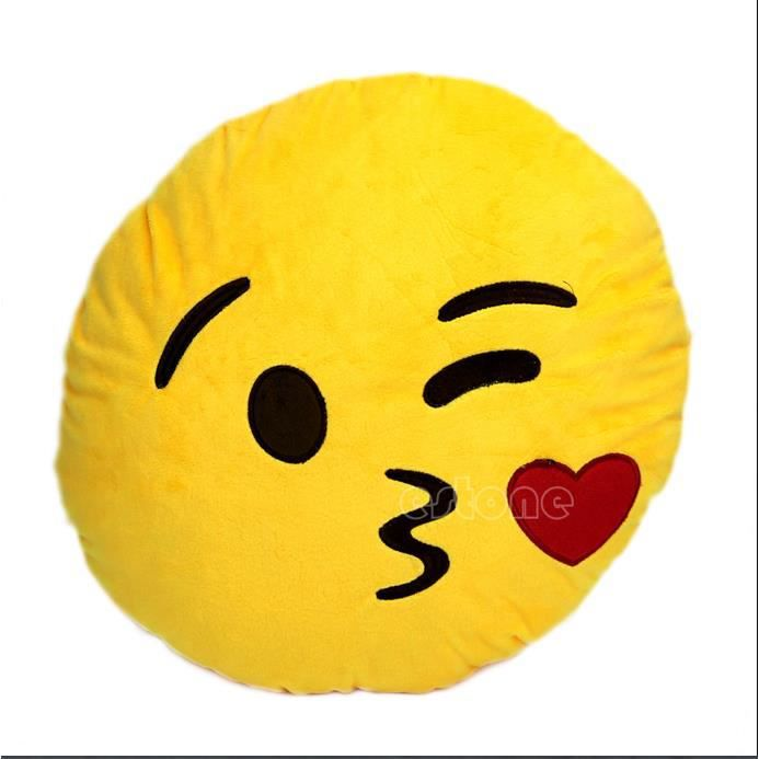 Coussin emoticone smiley bisou   Achat / Vente coussin coussin