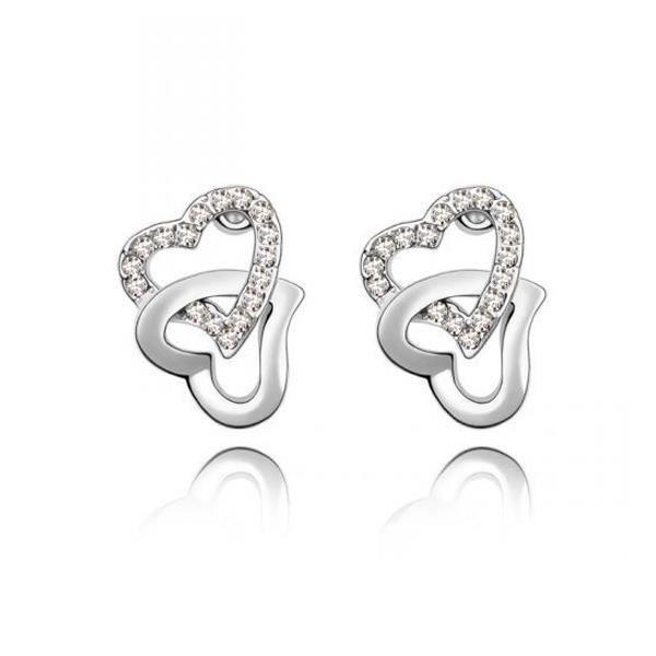 Boucles dOreilles Double Coeurs entrelacés cristal de Swarovski Elements blanc