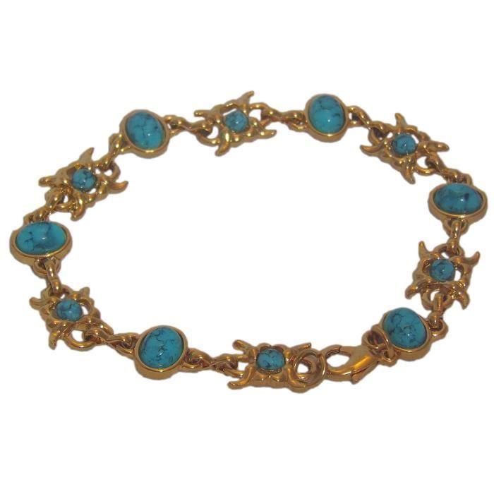 Bracelet en plaqué or 18 carats serti de turquoise. Longueur : 21 cm. Largeur : 10 mm
