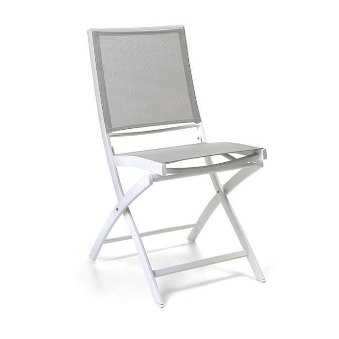 CHAISE Chaise Pliante Alu Blanc Textilne Gris Clair Cass