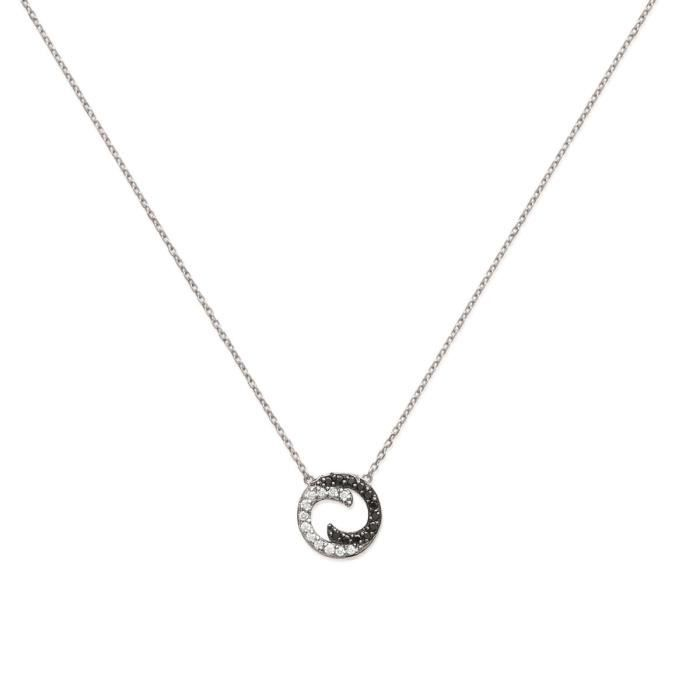 MARY JANE - Collier Argent - Long:45cm - Larg:16mm - Femme - Cercle - Rond