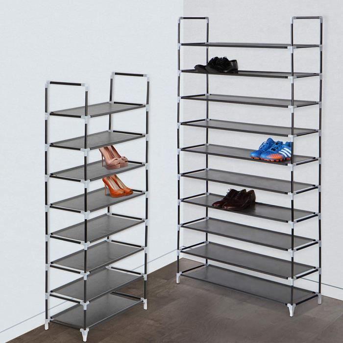 Tag re chaussures avec 10 niveaux de rangement pour 20 - Meuble rangement chaussures 54 paires ...