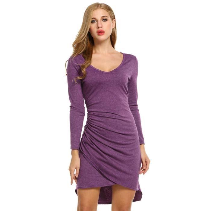 Robe Femmes robe de soirée manches longues col v Faux Wrap ruché robe asymétrique