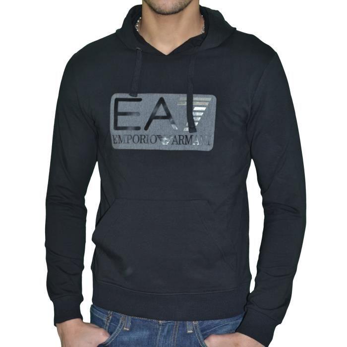 Ea7 - Sweat à Capuche - Homme - Sweat Big Rectangle - Noir Noir Noir ... 9269ca959e0d