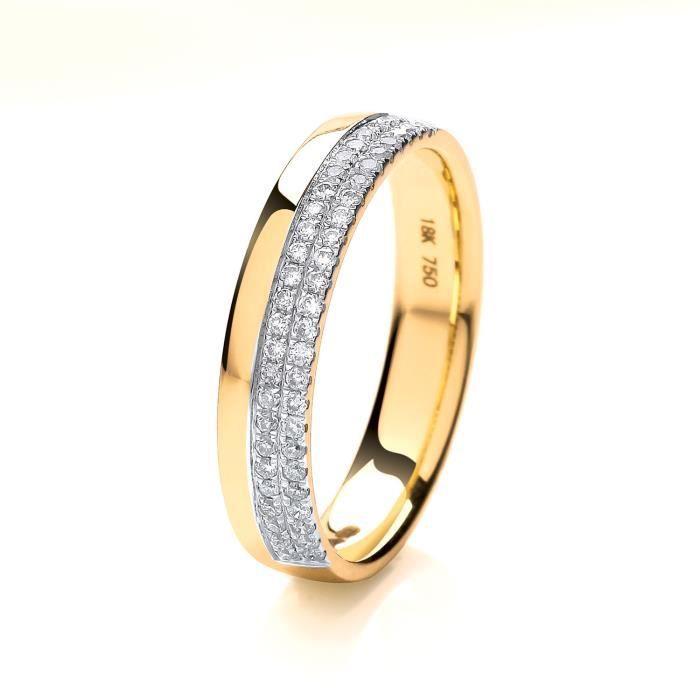 Bague de Mariage-Alliance Femme Semi Pavée 1mm Demi Confort Or 750-1000 et Diamant Brillant 0.20 Carat HI - SI 30765