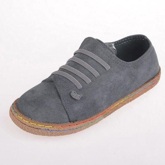 Bottines Femmes À Suède Simple Bottes Douces Femme Lacets En Cuir Chaussures Plates rrF45B6g