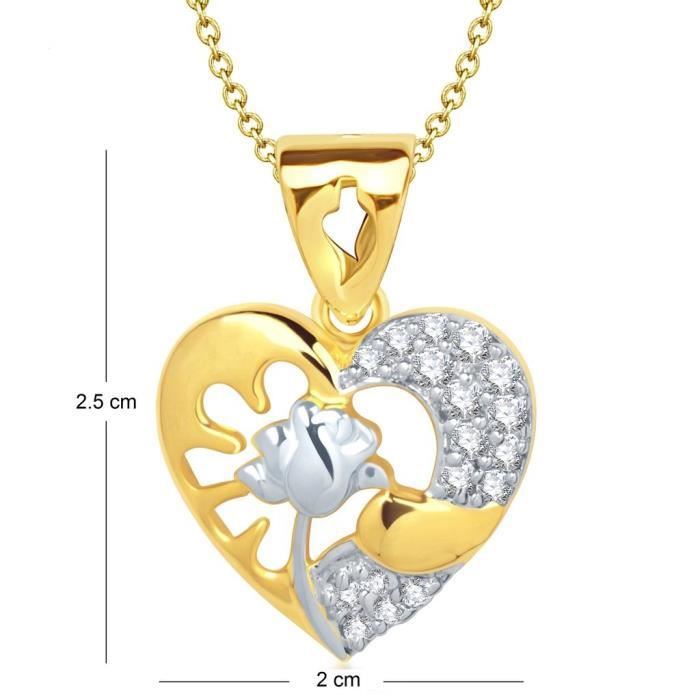 Femmes Vk Bijoux Rose en forme de coeur en or et plaqué rhodium Pendentif - P1301g [vkp1301g] HR1YR
