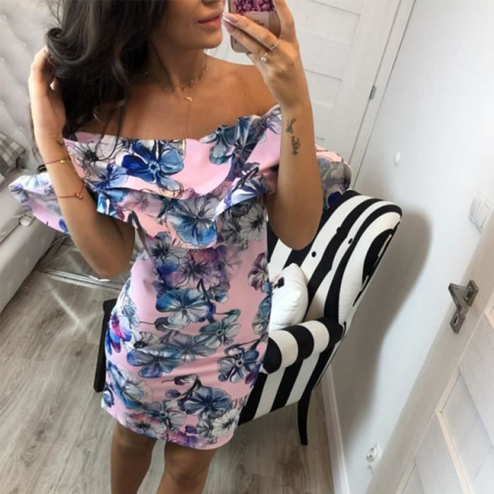 Flare Femmes Sexy Daily Off Floral Ruffles Épaule Mini Party Summer Robe Courte Rose K1lFJTc3