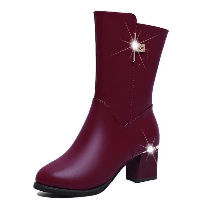 Shoes En Cuir Bottes Femmes Martin Toe À Fashion Fermeture Square Glissière Ronde Épais Réchauffez qFXOwq