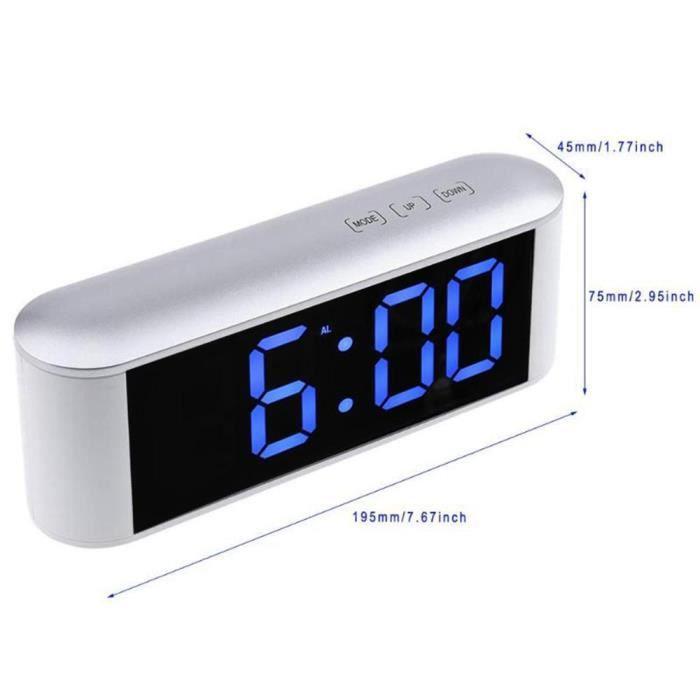 Leegoal Réveil Lorsque Le Thermomètre À Miroir La Maison Ts-s25, Lumière Bleu