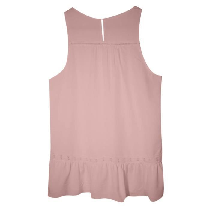 Tops New shirts Femmes Mode Sans Tank Évider Solide Manches D'été Rose T qrwOIxWwvY