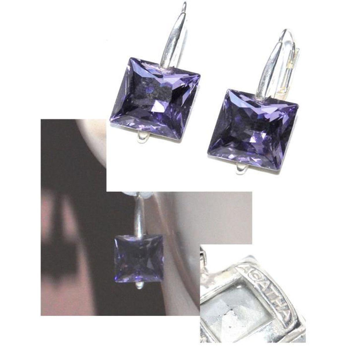 Agatha Boucles D Oreilles Dormeuses Plaque Argent Cristal Violet