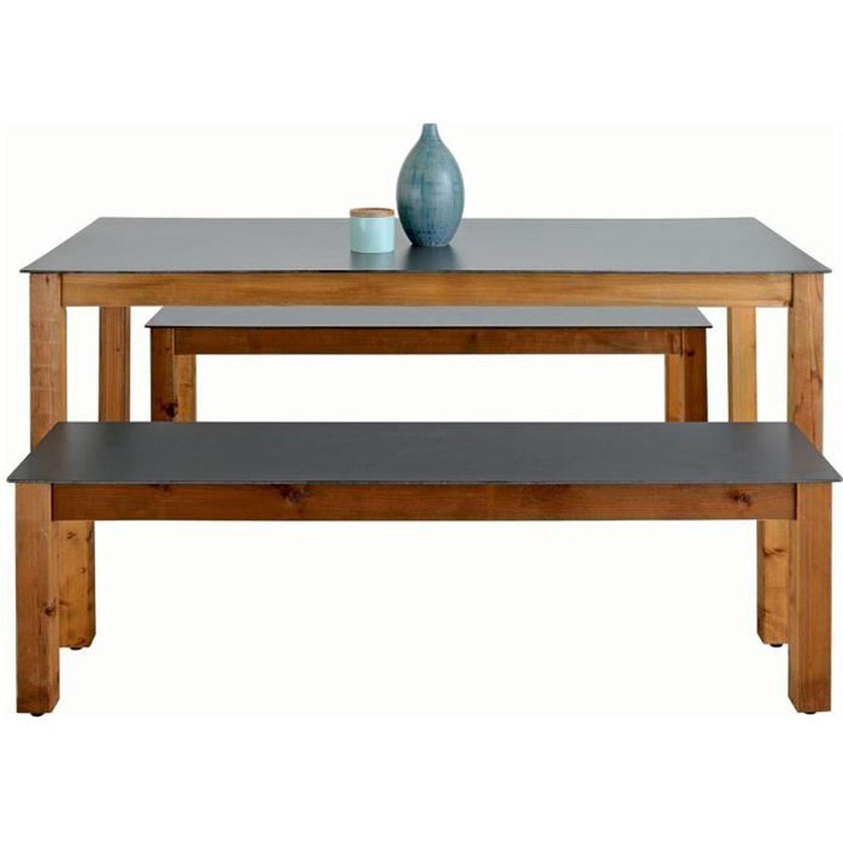 Ensemble de jardin neli 1 table 2 bancs bois achat vente salon de jardin ensemble de Salon de jardin bois cdiscount