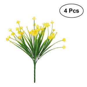 fleur artificielle 4pcs fleurs artificielles faux jaune jonquilles ve - Arbuste Artificiel Exterieur Pas Cher