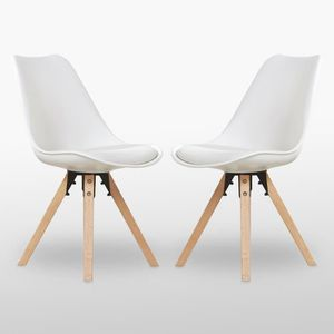 CHAISE Lot de 2 Chaises Scandinaves Blanches Sofia - Sall