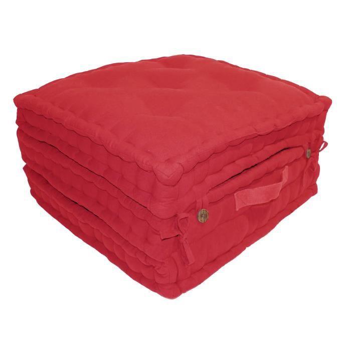 Enveloppe : 100% toile de coton - Garnissage : 100% coton - Dimensions : 60x60x180 cm - Coloris : rougeCOUSSIN DE SOL - MATELAS DE SOL