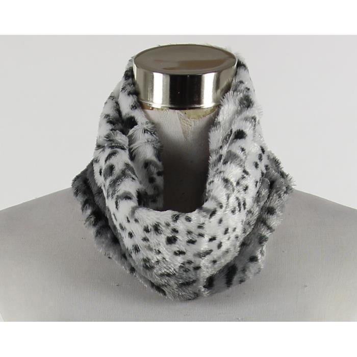 Snood col écharpe léopard blanc et noir acrylique Blanc - Achat ... c45553a13c9