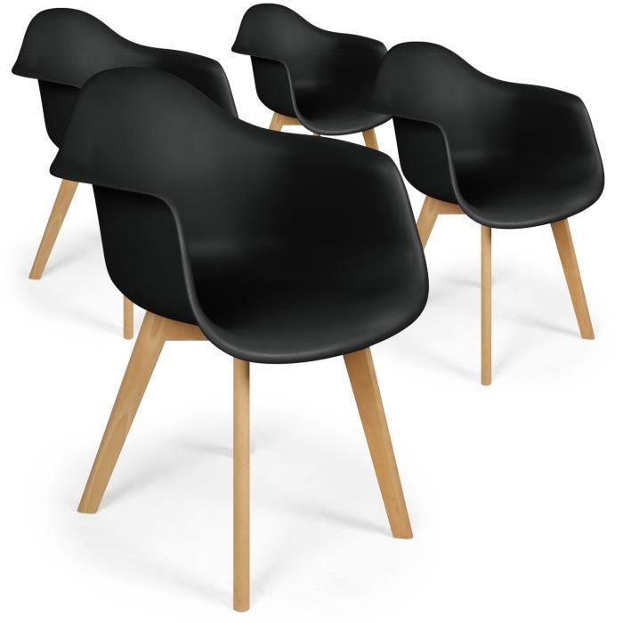 lot de 4 chaises scandinaves design prado noir - achat / vente