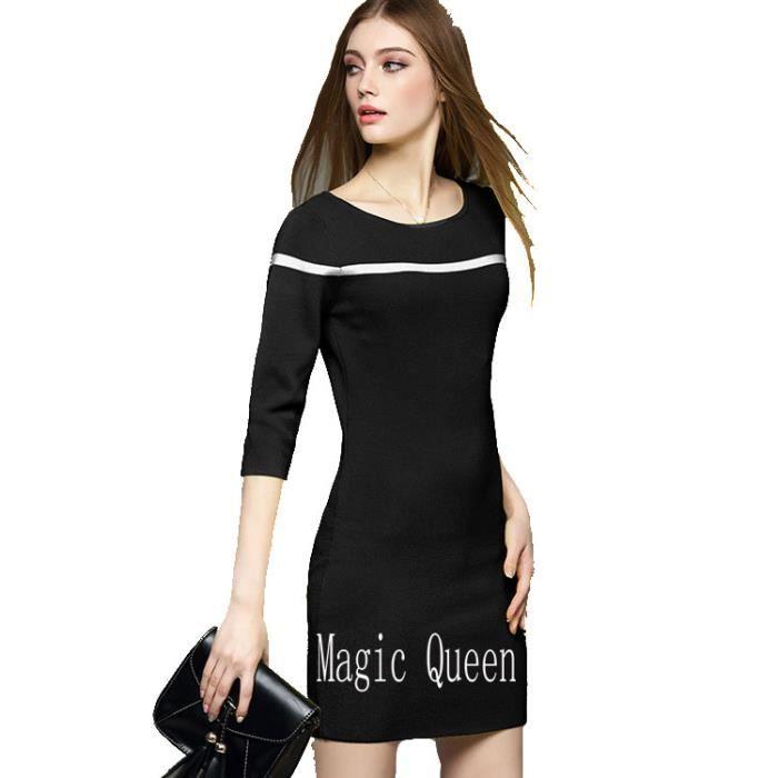 Robe de femme en tricot paquet de hanche solide amincissante à col rond